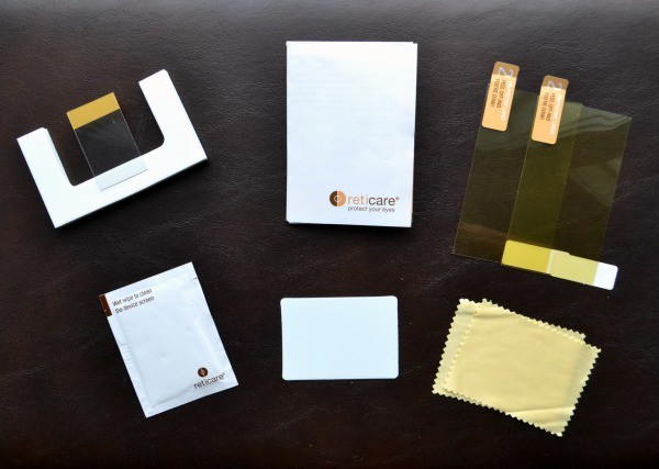 Each Reticare smartphone protector kit comes with instructions, 2 protectors, and application tools