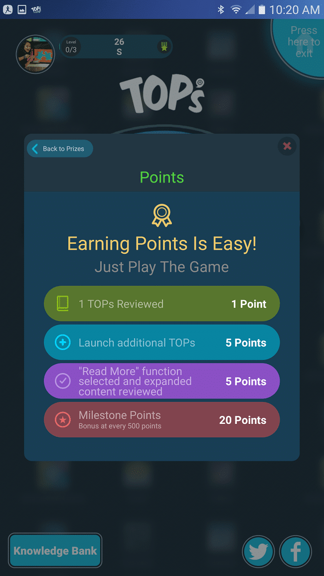 Earn points in TOPs with each knowledge burst