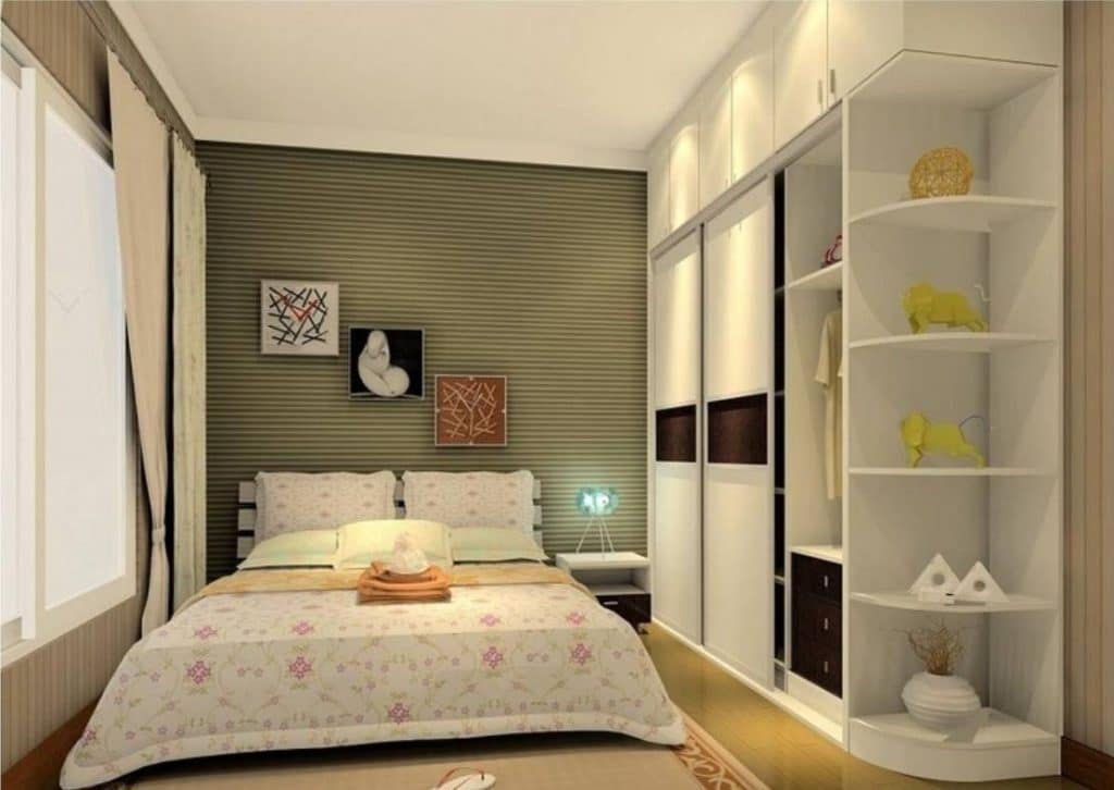 Guest Room with rounded shelves