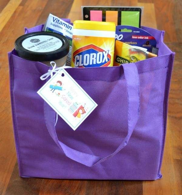 Instead of a disposable gift bag, use a reusable shopping bag to deliver your back to school teacher gift