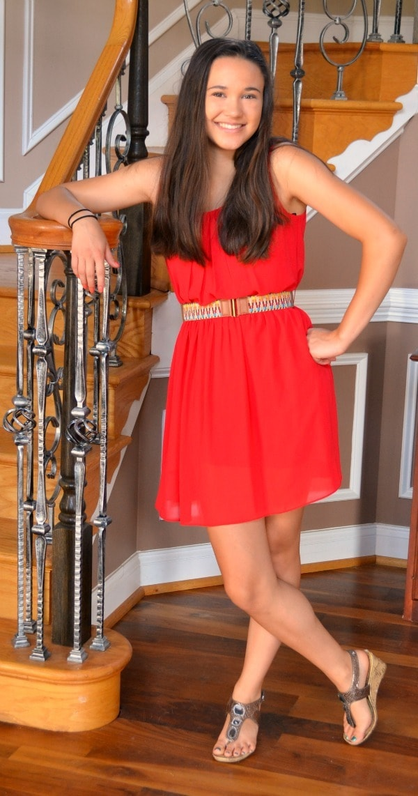 This breezy red dress is stylish and age appropriate for teens without being too revealing