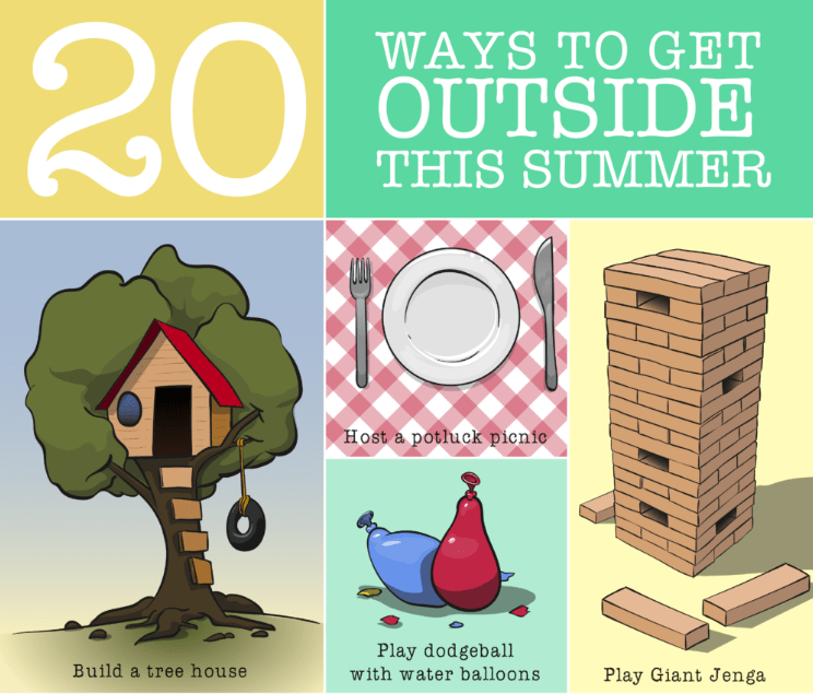 a collage of five different graphics of outdoor activities with title text reading 20 Ways to Get Outside This Summer
