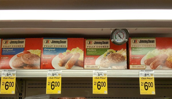Look for Jimmy Dean fully cooked sausage near other breakfast meats like bacon and sausge