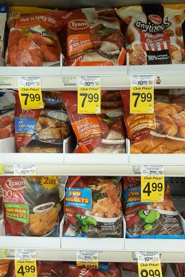 Look for Tyson chicken nuggets int he freezer section of your local Albertsons