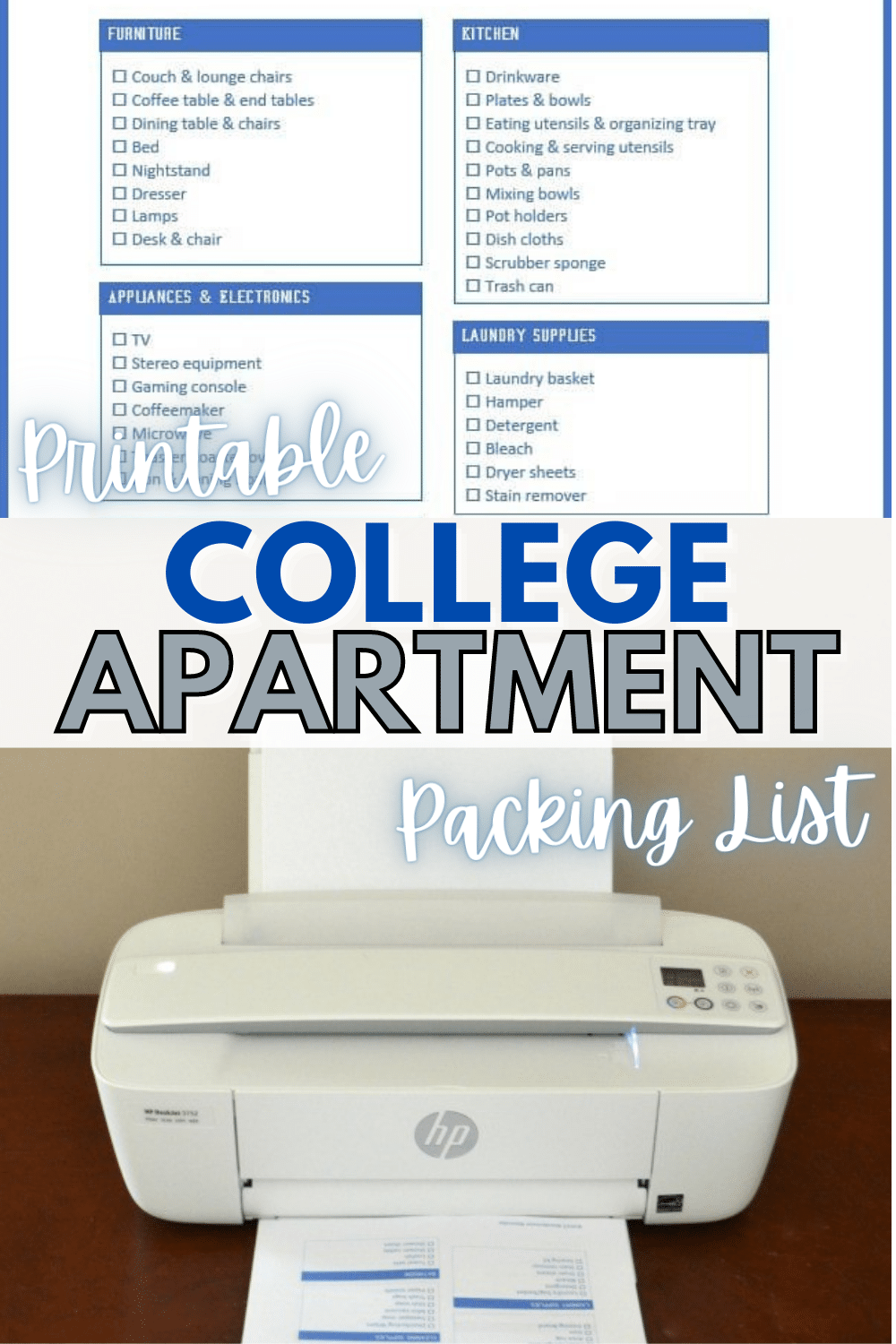 Moving out of the dorms and into an apartment is exciting. Make sure you have everything you need with this college apartment packing list. #collegeapartment #packinglist #printable #freeprintable via @wondermomwannab