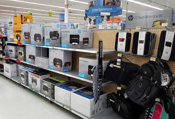 You can find HP printers in the Entertainment section of your local Walmart