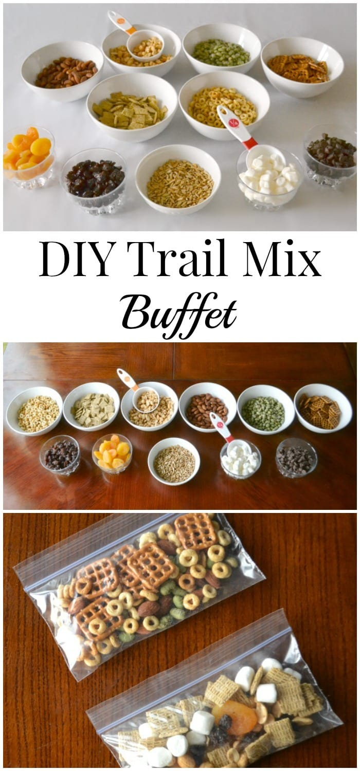 A trail mix buffet is a great way to empower kids to make their own healthy snack choices and have fun in the process of making them. #trailmix #healthysnack #forkids #buffet via @wondermomwannab