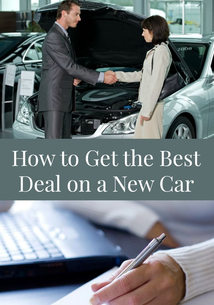 a collage of a lady buying a new car and signing the papers with title text reading How to Get the Best Deal on a New Car
