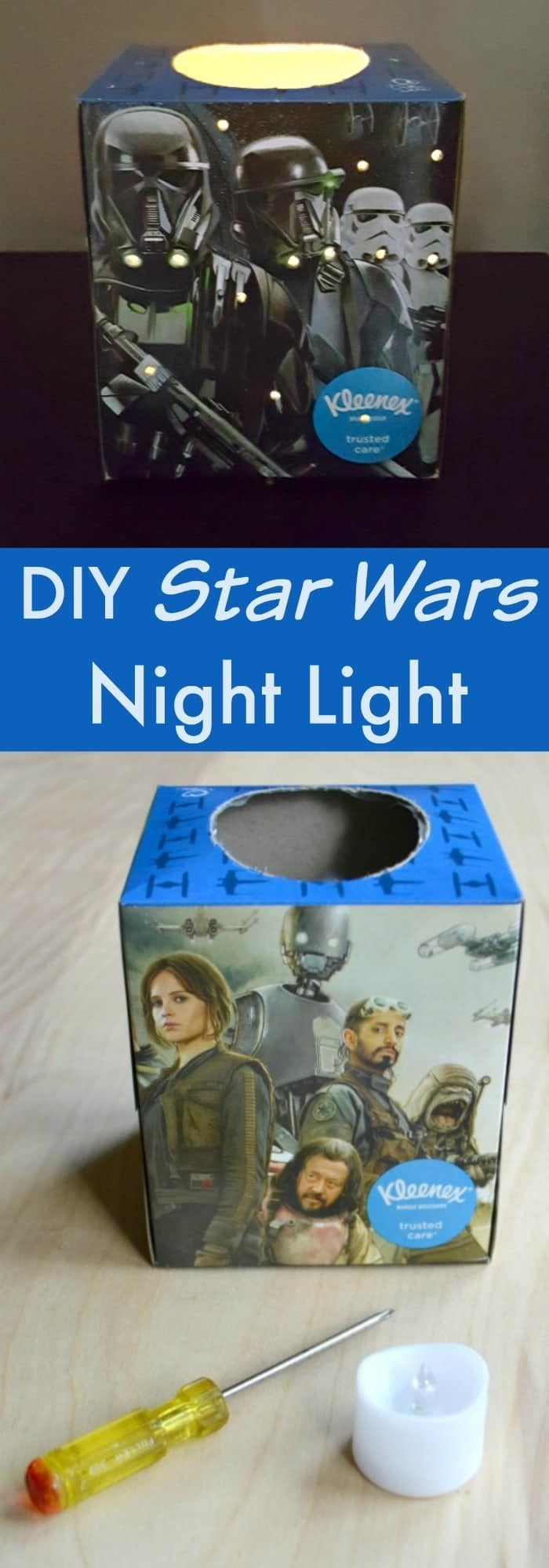 You only need a few items to make this Star Wars night light. It's a super fun craft to do with the kids!
