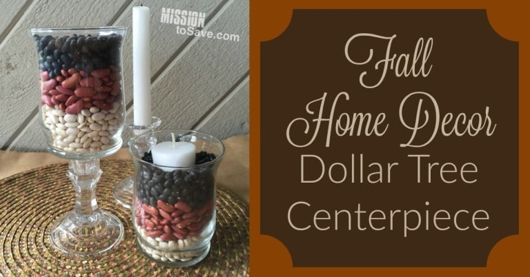 fall-home-decor-dollar-tree-centerpiece made out of glasses, candles and dry beans