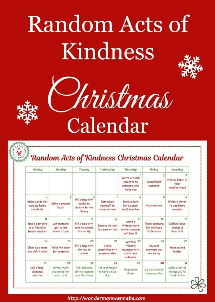 Random Acts of Kindness Christmas Calendar for Kids