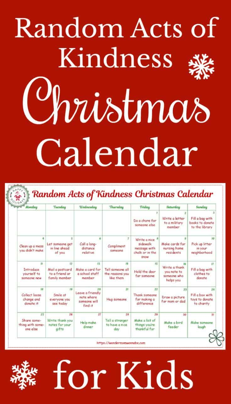 This random acts of kindness Christmas calendar is designed just for kids! What a great way to show kids that you're never too young to make a positive impact. #printables #RAKprintables #Christmasprintables #Kidsprintables #Randomactsofkindness