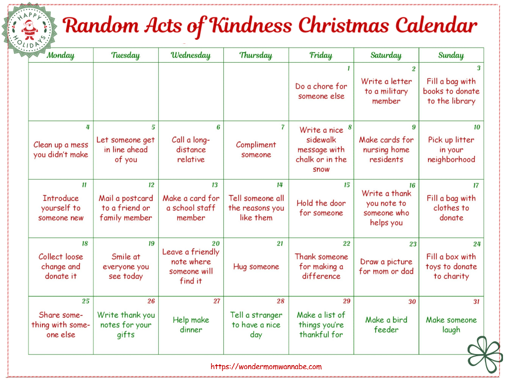 Christmas Calendar Ideas Ks : Monthly acts of kindness calendars