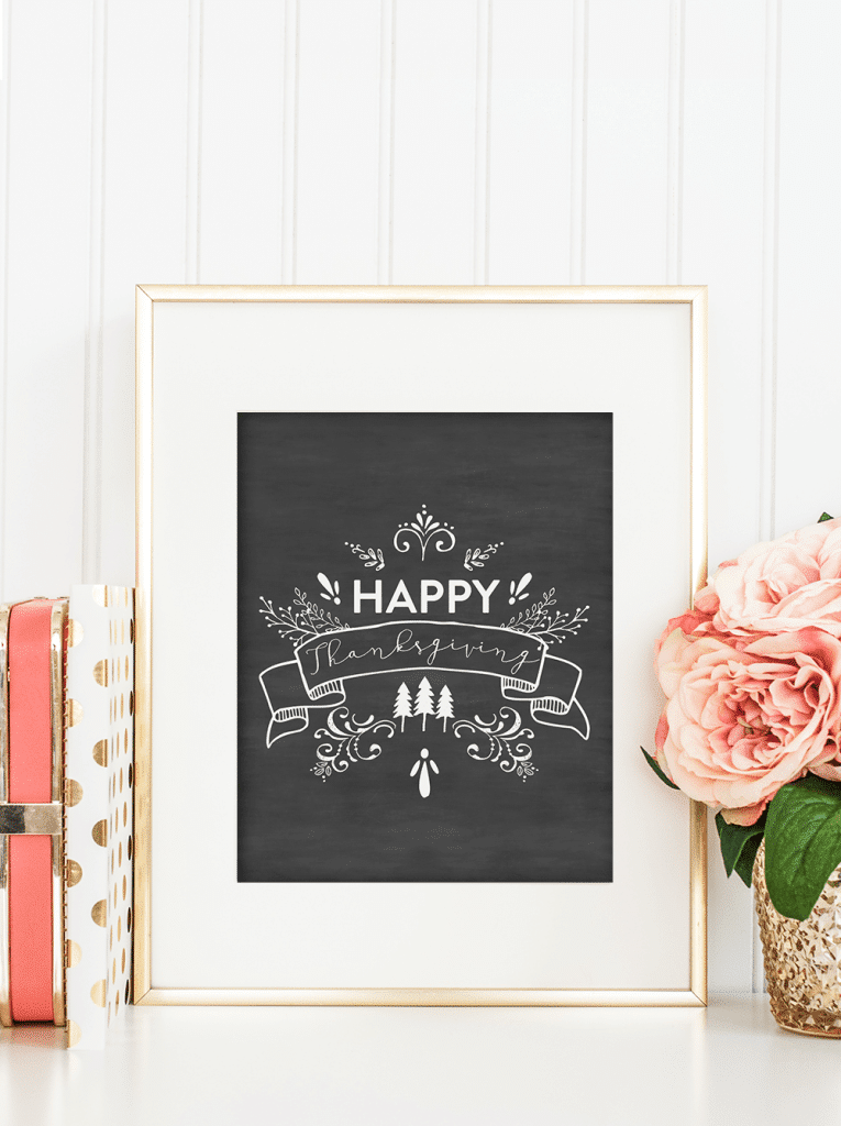thanksgiving-chalkboard-printable in a white frame