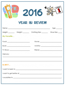Free Printable Year in Review For Kids