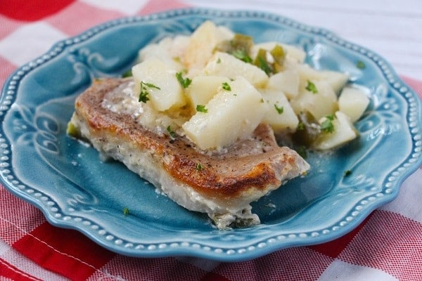 baked pork chops and creamy potatoes on a blue plate on a red and white checkered cloth