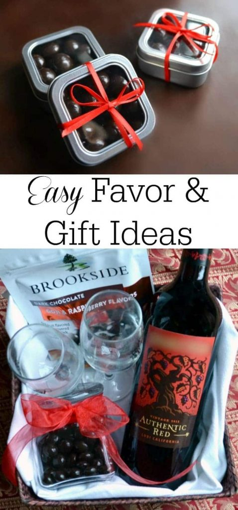 a collage of Brookside Chocolates in tins and in a gift basket with title text reading Easy Favor & Gift Ideas