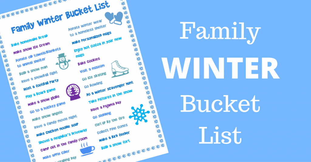 printable family winter bucket list with title text reading Family Winter Bucket List on a blue background