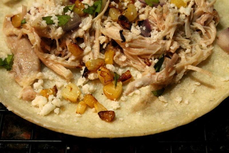 garlic lime chicken and corn taco