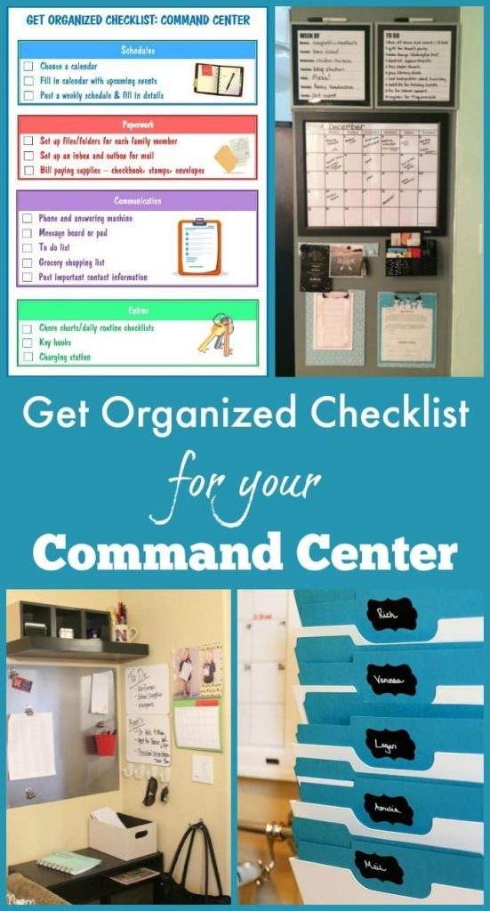 a collage of three different command center walls and a printable with title text reading Get Organized Checklist for Your Command Center