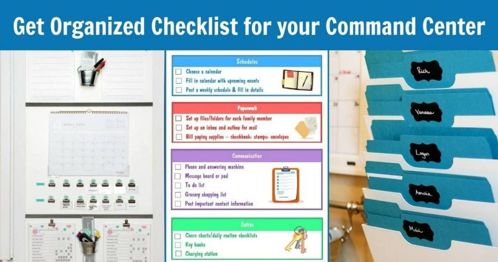 two different command center walls with a printable and title text reading Get Organized Checklist for Your Command Center