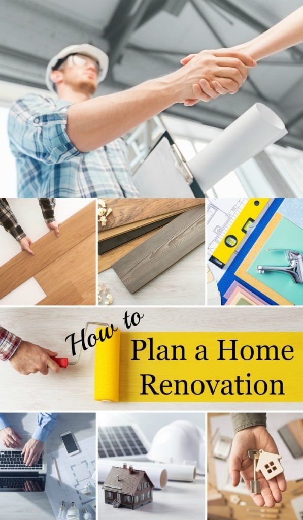 a collage of 8 different home scenes with title text reading How to Plan a Home Renovation