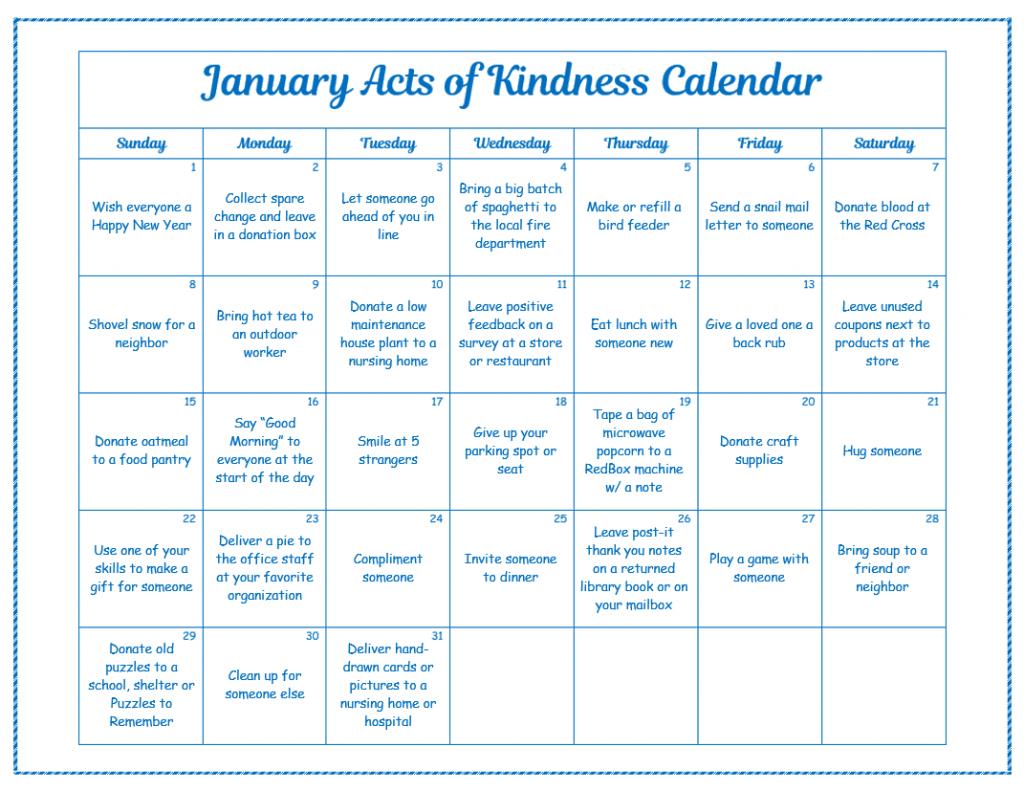 Kids Kindness Calendar : Random acts of kindness christmas calendar for kids