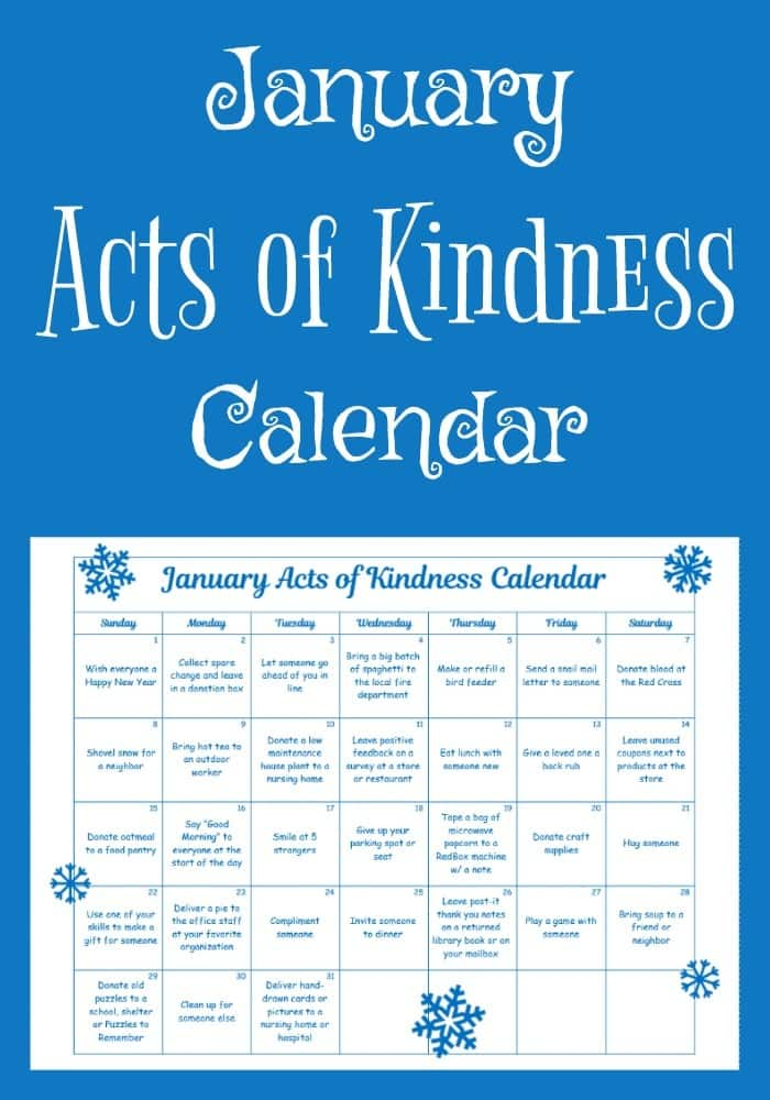 Get the year off to a joyous start with this January Acts of Kindness Calendar. Many of the kindness acts are tied to the month's theme and unique January holidays. #printables #freeprintables #actsofkindness #RAKprintables #randomactsofkindness #RAKCalendar