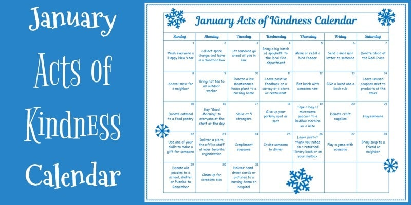 Kindness Calendar January 2019 January Acts of Kindness Calendar