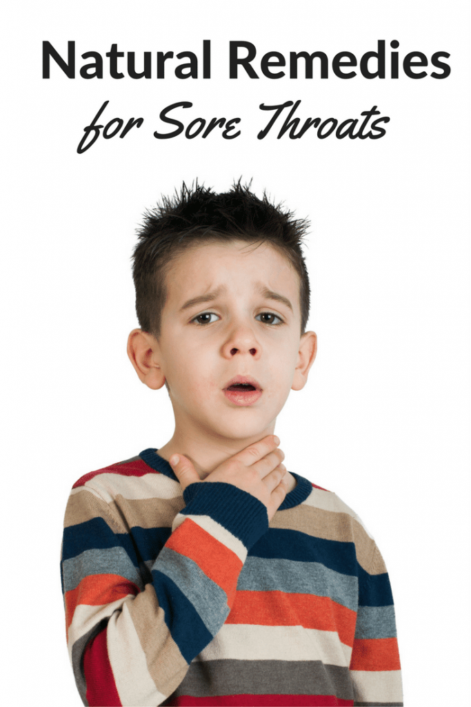 a boy with his hand on his throat with title text reading Natural Remedies for Sore Throats