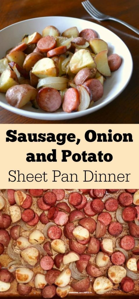 a collage of a sausage meal on a pan and on a plate with title text reading Sausage Onion and Potato Sheet Pan Dinner