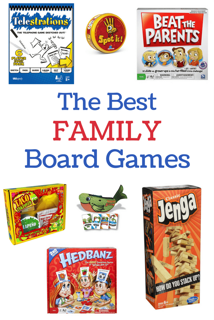 a collage of seven different board games with title text reading The Best Family Board Games
