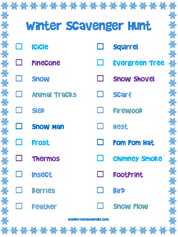 Winter Scavenger Hunt printable