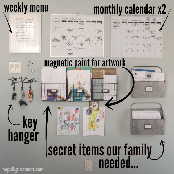 a command center wall in a home with a weekly menu, monthly calendars, magnetic paint for artwork, key hanger and file boxes