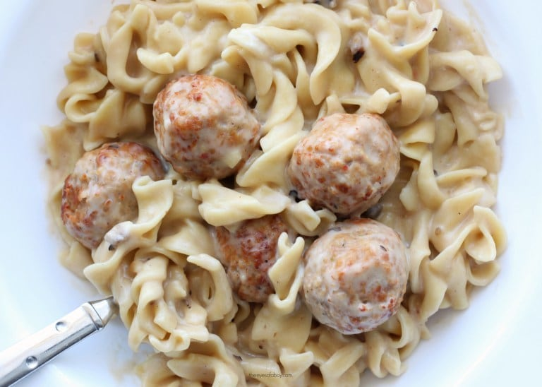 instant pot swedish meatballs on a white plate