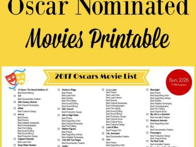 Here's a list of all the movies nominated for a 2017 Oscar. Print off the list and check off the movies you've seen and as you watch them.