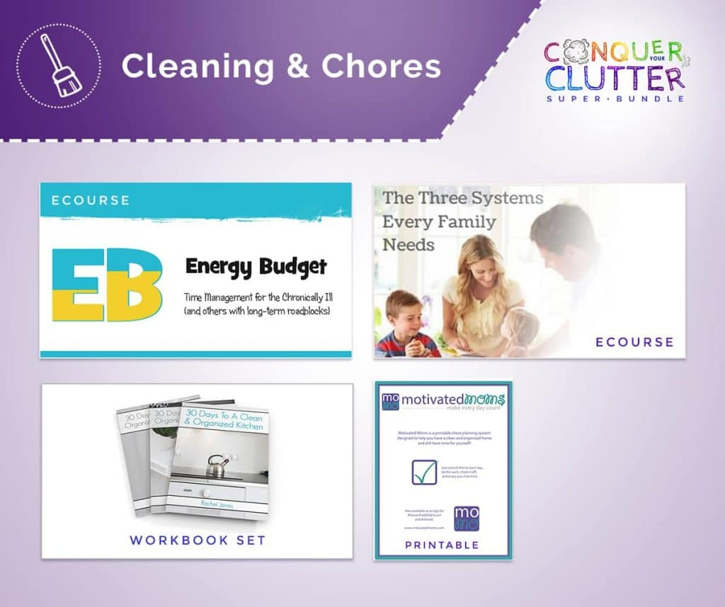 graphics of the covers of what's available in the Cleaning & Chores section of the Conquer Your Clutter Super Bundle