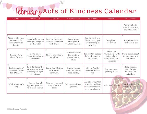 printable February Acts of Kindness Calendar