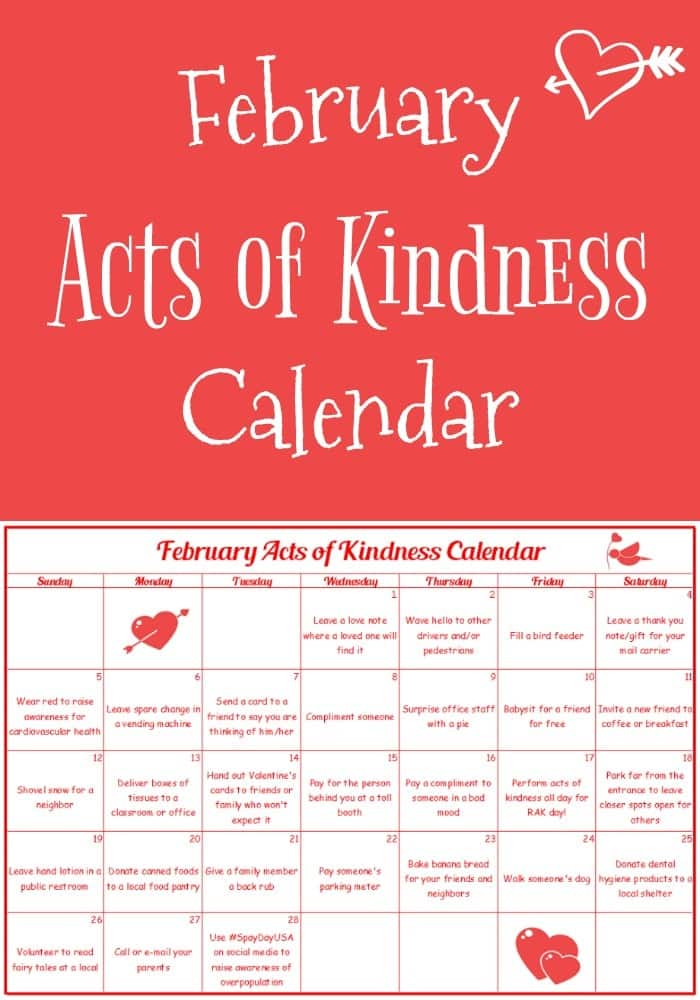 Start February off with an acts of kindness calendar. Many of the kindness acts are tied to the month's theme and unique February holidays. #printables #freeprintables #actsofkindness #RAKprintables #randomactsofkindness #RAKCalendar