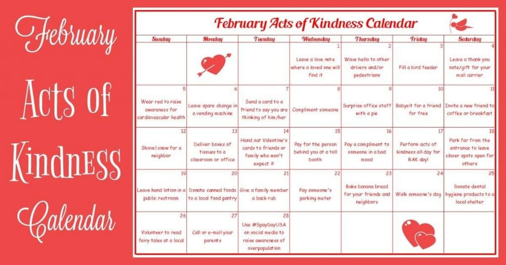 february acts of kindness calendar
