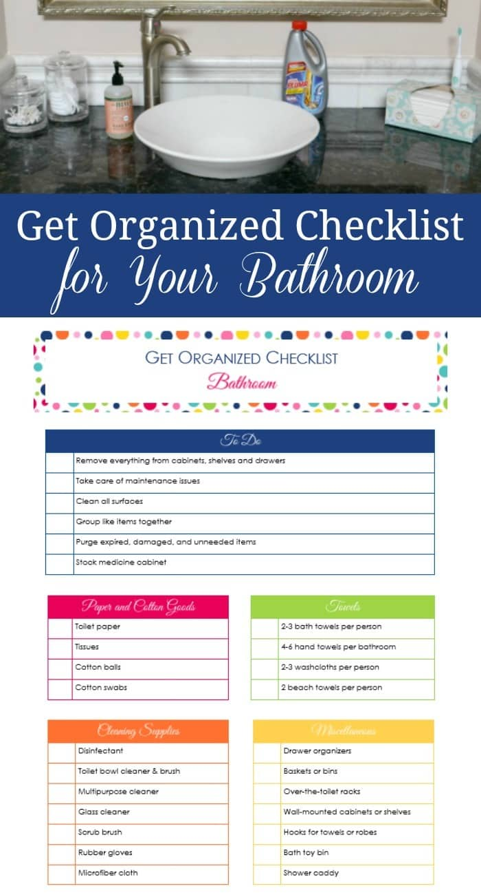 This get organized checklist for your bathroom summarizes the steps you should follow to organize your bathroom and items you should stock. #organize #bathroom #householdtips via @wondermomwannab