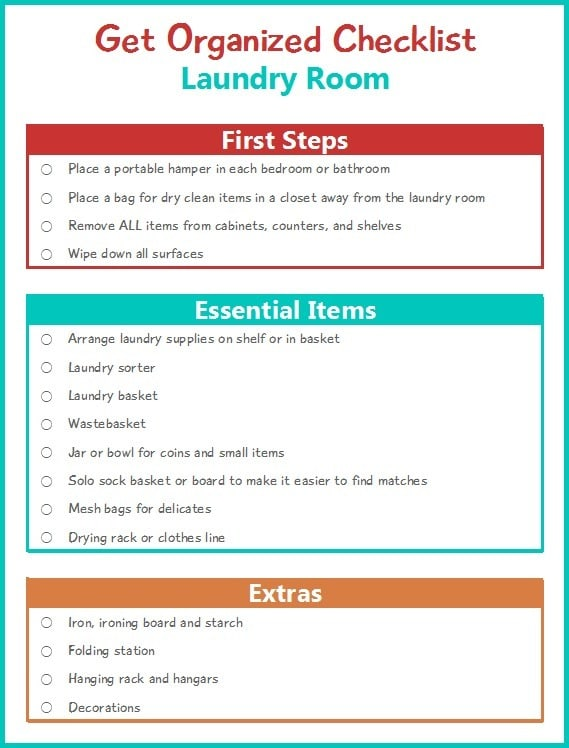 I love this Get Organized Checklist series! It's helping me tackle one area at a time in my home. This week, I'm getting my laundry room organized with this simple checklist.