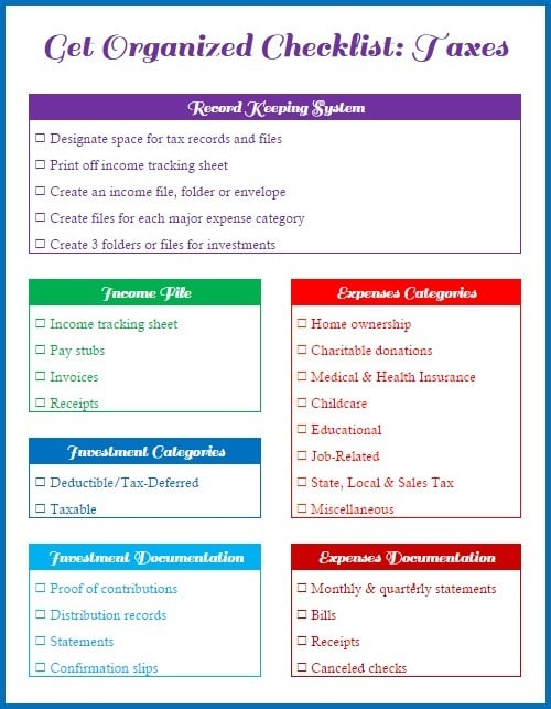 Get Organized Checklist For Your Taxes