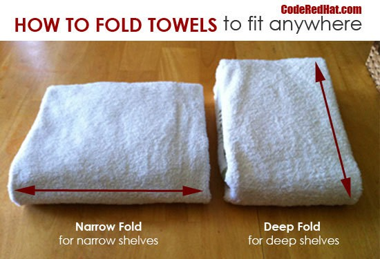 towels folded two different ways on a brown background with title text reading How To Fold Towels to fit anywhere