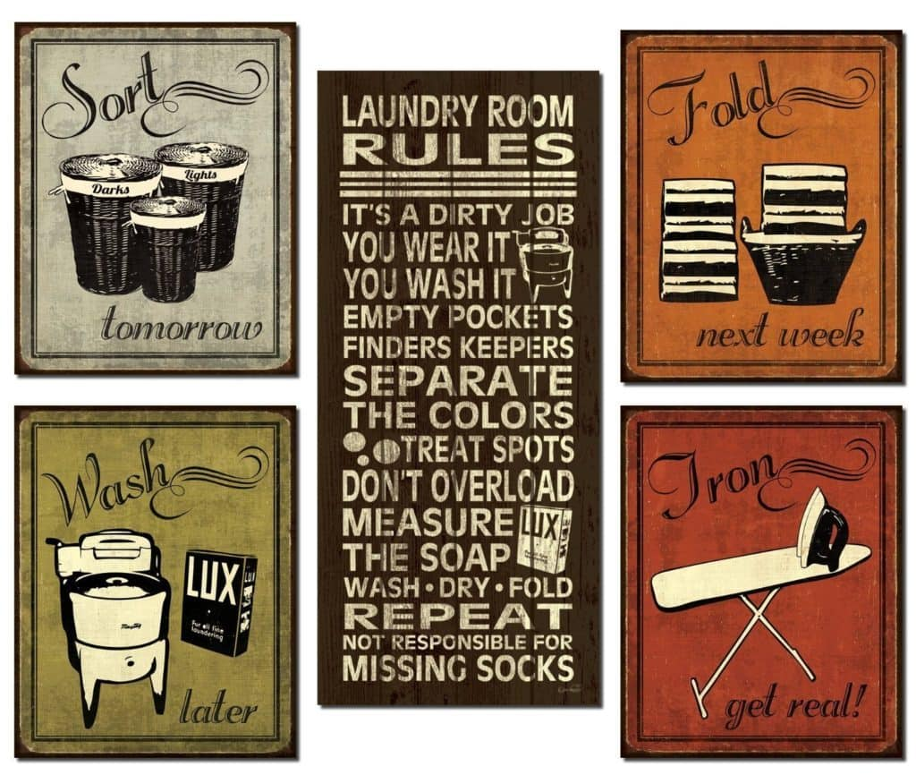 various laundry room signs