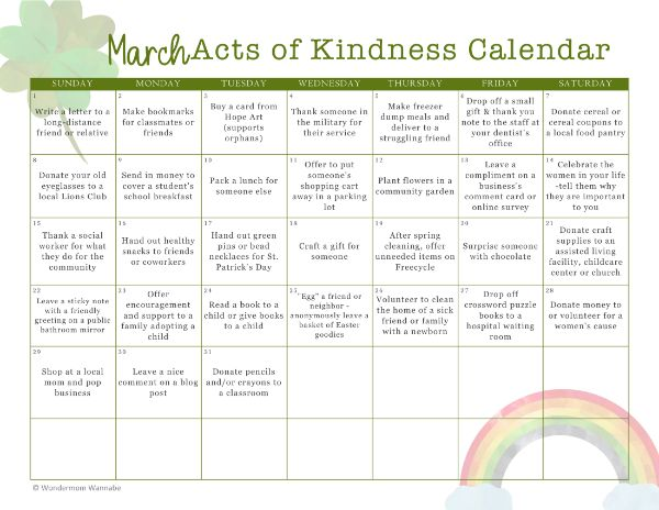 printable March Acts of Kindness Calendar