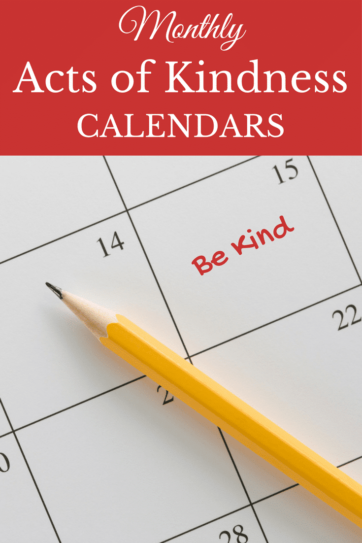 a calendar with a pencil on it with title text reading Monthly Acts of Kindness Calendars
