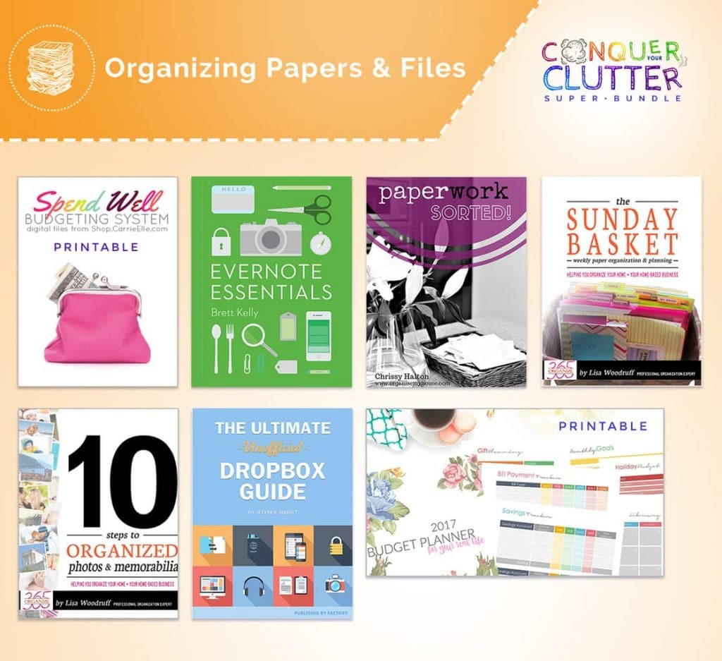 graphics of the covers of what's available in the Organizing Papers & Files section of the Conquer Your Clutter Super Bundle