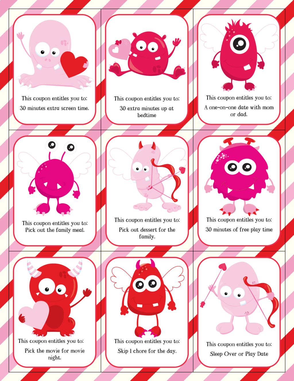 Valentine Coupons: Pink Monsters