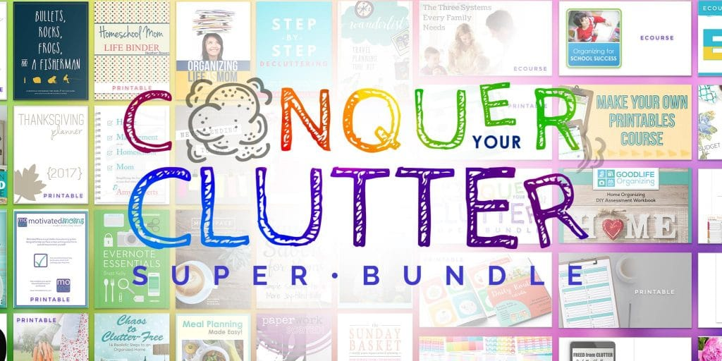 images of book covers with text overlay reading Conquer Your Clutter Super Bundle